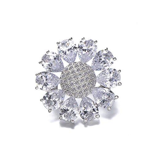 Sunflower Brooch Pins for Women,Dazzling Rhinestone Brooch for Brides Copper Vintage Crystal Brooch Girls (Vintage Brooch Square)