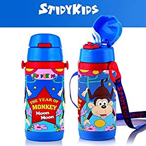 Shockproof Vacuum Insulated Bottle for Boys, Blue, Year of the Monkey
