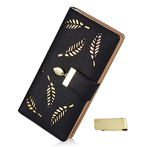 Women's Long Leaf Bifold Wallet Long Leather Card Holder Purse Zipper Buckle Elegant Clutch Wallet + Money Clip (Black Leatherette Money Clip)