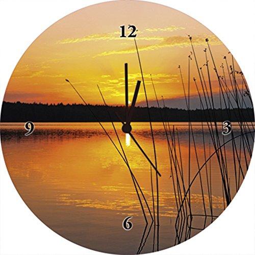 Artland Qualitätsuhren I Funk Wanduhr Designer Uhr Glas Funkuhr Größe: 35 Ø Sonnenuntergang See Orange H8FP