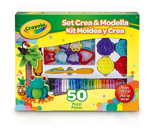 - Crayola Modeling Clay Deluxe Kit; Art Tools; 50 Pieces; Soft, Pliable Clay Won't Dry Out