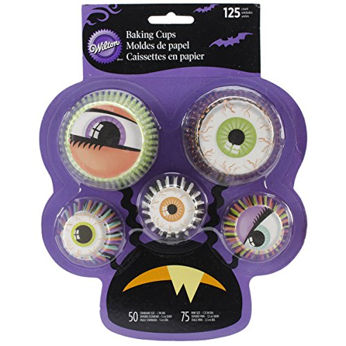 Wilton 415-3057 Mixed Baking Cups on Monster Backer Card (Monster Eyeballs Halloween Treat Recipe)