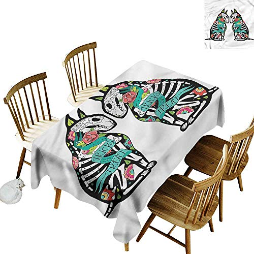 (one1love Tablecloth Halloween Skeleton Demon Table Cover for Kitchen Dinning Tabletop Decoratio 60