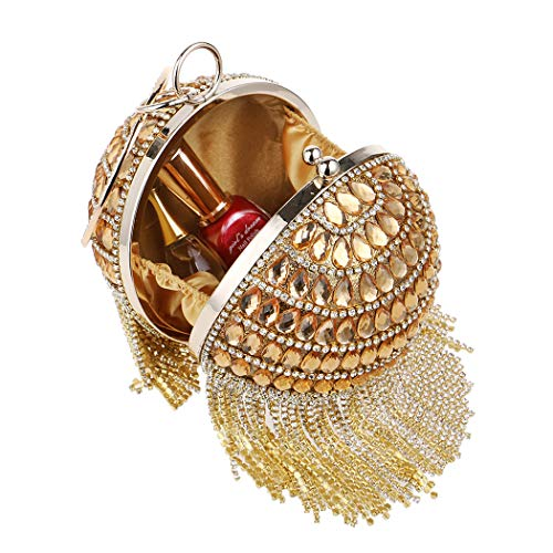 Wedding And Handbags Parties Rhinestone Handbag Spherical Fringe Occasions Elegant Banquet Ladies Evening Fashion Bag Bag For Red Evening O1wZq6p