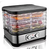 Homdox Food Dehydrator Machine, Jerky Dehydrators with Five Tray, Knob Button