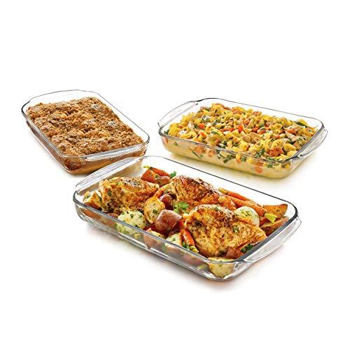 3 Piece Baking Dish - Libbey Baker's Basics 3-Piece Glass Casserole Baking Dish Set