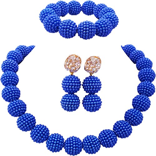 laanc Fashion Women 1 Rows Multicolor Plastic Imitation Pearl Nigerian Wedding Beads African Jewelry Sets (Royal Blue)