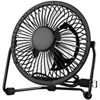 Bamboos Grocery USB Mini Fan Table Fan,Black , 4 inch ,with anti-vibration pads ,Mental Design, Quiet Operation ,Strong Wind
