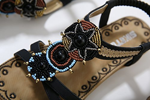 Black 2 Flat Women's Beauty Thong Rhinestone Beach D2C Sandals xZO0X8qww