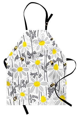 Ambesonne Grey Apron, Daisy Flowers with Bees in Spring Time Honey Petals Floret Nature Purity Blooming, Unisex Kitchen Bib Apron with Adjustable Neck for Cooking Baking Gardening, Yellow White