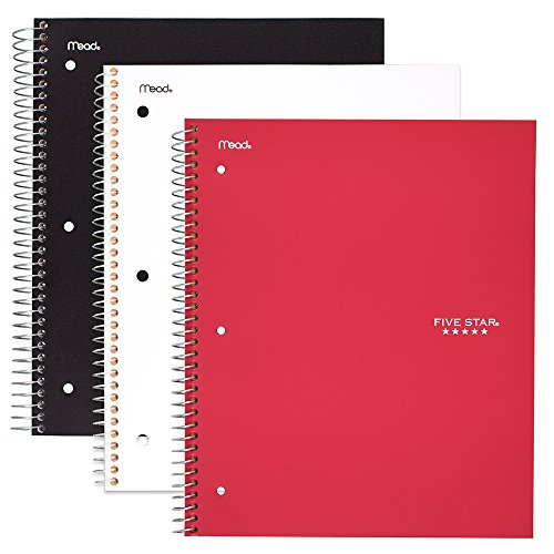 Five Star Spiral Notebooks, 3 Subject, College Ruled Paper, 150 Sheets, 11'' x 8-1/2'', Black, White, Red, 3 Pack (73393) by Five Star