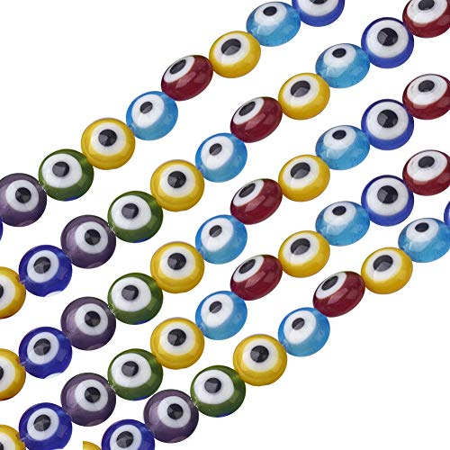 NBEADS 1 Strand (About 71pcs) Mixed Color 6mm Flat Round Handmade Evil Eye Lampwork Beads Charms Spacer Beads fit Bracelets Necklace Jewelry Making