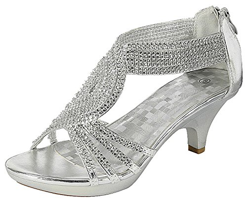 a17c8a9508689 Cambridge Select Women s Open Toe Crystal Rhinestone Crisscross Strappy Mid Heel  Sandal