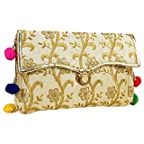 Indian Handicraft Cluch/Hand Cluch/Evening Bag/Handicraft Purse (Cream)