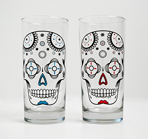 Sugar Skulls – Hand Painted Halloween Glasses – Día de Muertos – Set of 2 Day of the Dead Glassware