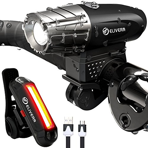 ELIVERN Super Bright LED Bike Light, Flash Bike Light Front and Back, 350 Lumens Headlight and 100 Lumens Taillight, IPX4 Waterproof,1200 mAh USB Rechargeable Bike Light for Mountain Bikes