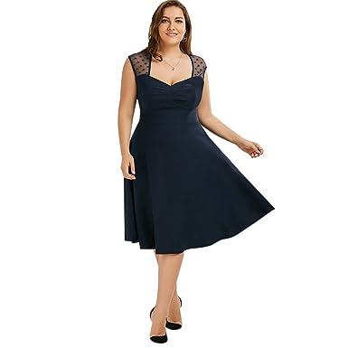 Amazon.com: EbuyChX Vintage Mesh Trim A Line Plus Size Dress ...