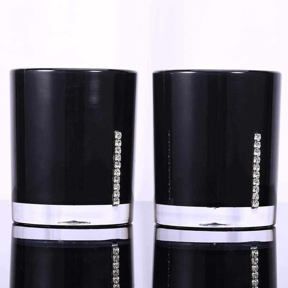 Schwarz Set mit 5 Accessoires f/ür das Badezimmer aus Acryl Emulsionsflasche Zahnb/ürstenhalter Seifenschale Becher f/ür Gargarmen