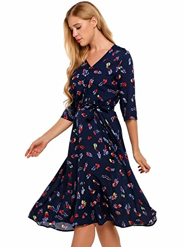 4 V Casual Neck ANGVNS Blue Leaves Floral Sleeves Women's 3 Dress Print and Hawaiian 4wqUWTH