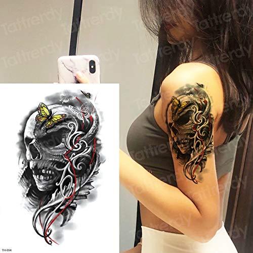tzxdbh Esqueleto Tatuaje Temporal Manga del cráneo diseños de ...