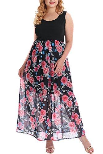 Nemidor Women's Knit Tank Top Empire Floral Print Chiffon Plus Size Casual Maxi Dress (18W, Black+Red)