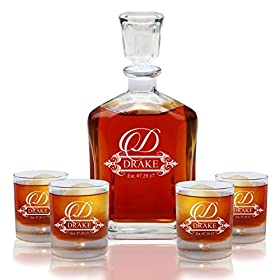 Personalized 5 pc Whiskey Decanter Set – Decanter and 4 Glasses Gift Set – Custom Engraved with Fancy Design