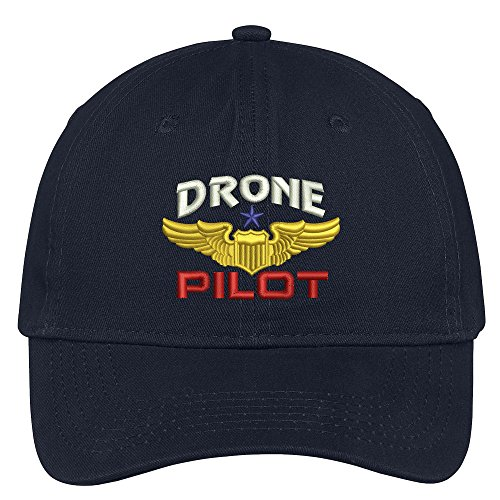 Trendy Apparel Shop Drone Pilot Aviation Wing Embroidered Soft Crown 100% Brushed Cotton Cap - Navy Aviation Cap