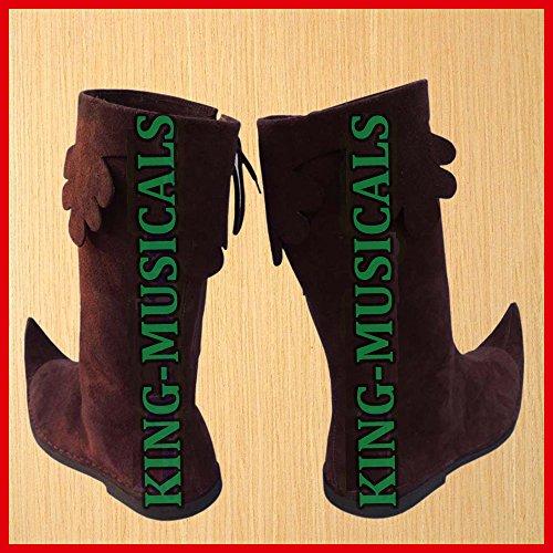 ALI Schuhe Stiefel Viking Lang Stiefel Braun Renaissance Pirat Herren NASIR Leder Schuh Mittelalter HPdTwHq