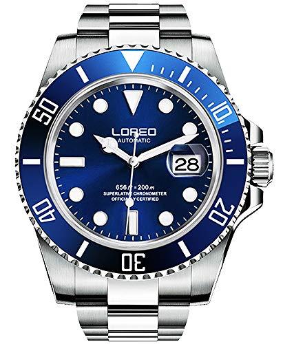 LOREO Men's Luminous Silver Stainless Steel Sapphire Glass Rotating Bezel Men's Automatic Watch Blue Dial Mechanical Waterproof Watches (Blue dial with Silver Stainless Steel Band)