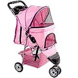 VIVO Pink 3 Wheel Pet Stroller for Cat - Dog and More   Foldable Carrier Strolling Cart (STROLR-V003N)