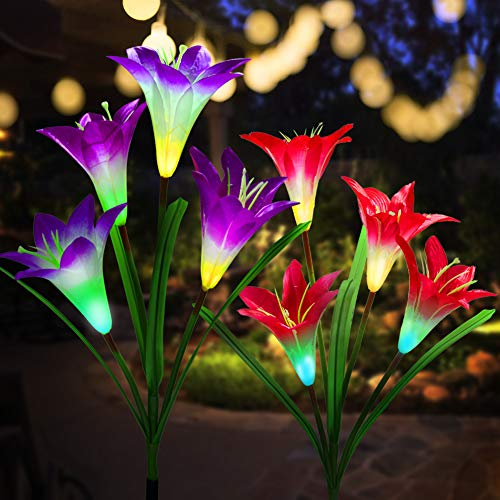 Outdoor Solar Garden Stake Lights Upgraded Solar Flower Lights with Lily Flower,Multi-Color Changing LED Solar Powered Lights for Patio,Yard Decoration,Bigger Flower and Wider Solar Panel (Red&Purple)