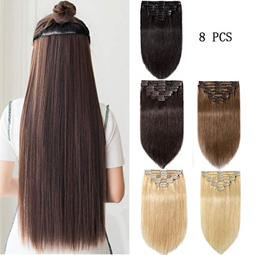 Modernfairy Hair Real Human Hair Extensions Clip in Full Head Thick Straight Remy Hair Extensions for Women 8Pcs 18 Clips 18