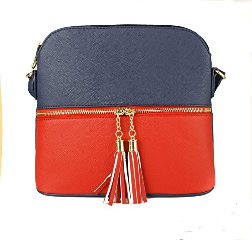 Blue Sling Trendy red Tassel Crossbody Mini Handbag Zip Faux Snakeskin Women's Redfox Leather wOPq44