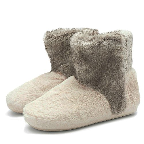 COFACE Womens Warm Slipper Boots Winter Fluffy Fur Lined Ind
