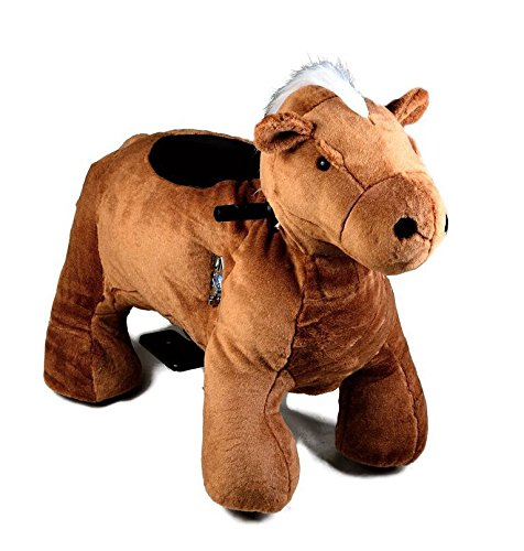 Motorized Plush Horse Ride On Toy - Coin Operated Electric Animal Scooter