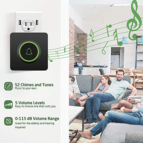 AVANTEK DB 11 Wireless Doorbell Waterproof Door Chime Kit Operating at Over 1300 Feet with 52 Melodies CD Quality Sound and LED Flash