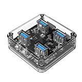ORICO {New Design} Transparent and Mini 4 Ports USB3.0 Super Speed Hub with Micro USB Port support Offline Power Supply [Support OTG Function] for Laptop MacBook Windows Mac PC [VL817 Intelligent Chip]
