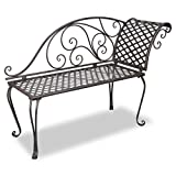 vidaXL Patio Outdoor Metal Garden Bench Seat Chaise Lounge Antique Brown Scroll-pattern