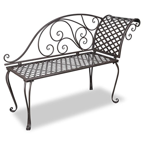 vidaXL Patio Outdoor Metal Garden Bench Seat Chaise Lounge Antique Brown (Metal Chaise Lounges)