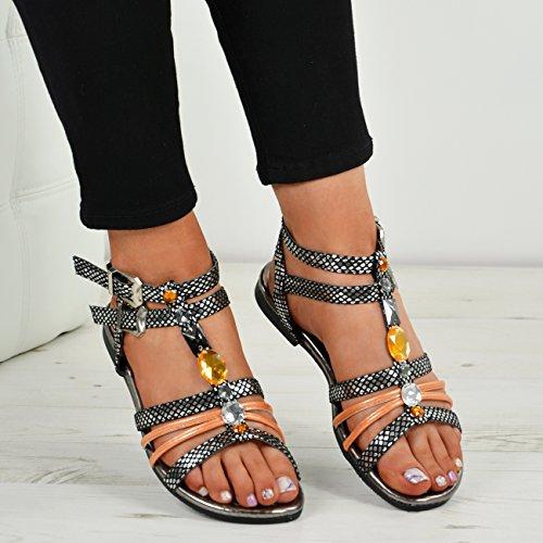 T Taille Mode Dames Noir Stud Sangle Toes Peep Sandales Chaussures Cheville Boucle Femmes Cucu Strass Pour De qExZqz7a