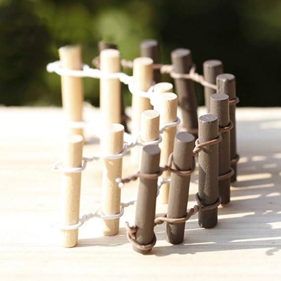 Jardín en miniatura de madera redonda, para decoración de jardín, maceta de micropaisaje, bonsái, casa de muñecas, hadas, mini paisaje, borde de valla para ...
