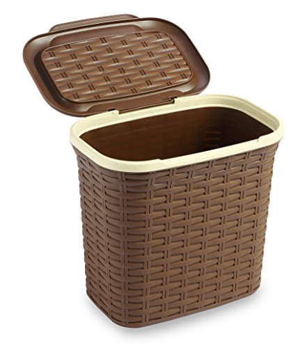 All Time Plastics Rattan Plastic Magazine And Newspaper Basket, 7 Litres, Brown