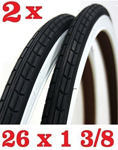 2 neumáticos para bicicleta de 26 x 1 3/8 – Blanco/Negro, ideal ...
