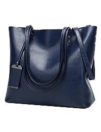 ilishop Oil PU Leather Handbag Vintage Designer Purse Classical Tote Bag Large Capacity Shoulder Bags