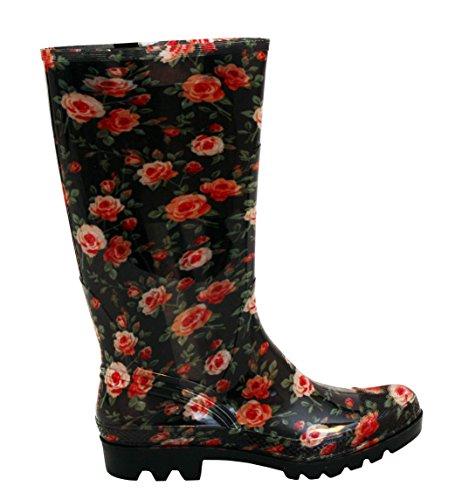 A Wellies Gummistiefel Footwear Rosen Damen Größen neue Womens 3 Schnee Festival Blumen UK Mud H Mädchen Regen wasserdichte Gummi 8 rO7wgr