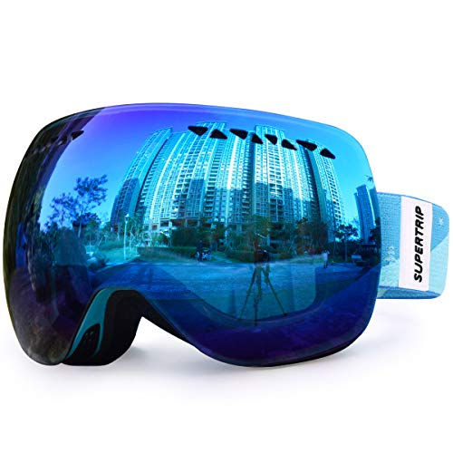Supertrip Ski Snowboard Goggles for Men & Women Over The Glasses Snow Goggles Anti Fog 100% UV Protection Double Lens Interchangeable Lens for Skiing (Gray Revo Ice Blue(VLT 28%) Without case) (Best Anti Fog Snow Goggles)