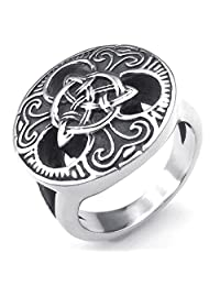 Konov Jewelry Stainless Steel Vintage Gothic Irish Celtic Knot Mens Ring, Black Silver