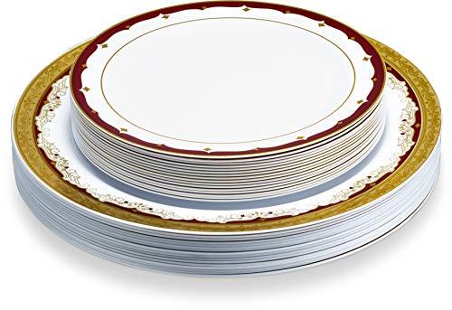 Laura Stein Vintage series Elegant Disposable Dinnerware Plates With 2 Tone Border/Rim Burgundy & Gold Set (1 Combo Pack Plates(16 Sets)