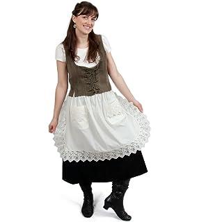 Ecru (Off-white/beige) Lace Deluxe Victorian Maid Costume Ladies Half Apron