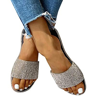 Amlaiworld Women's Sandals Crystal Roman Flat Slippers Casual Beach Indoor&Outdoor Shoes: Clothing